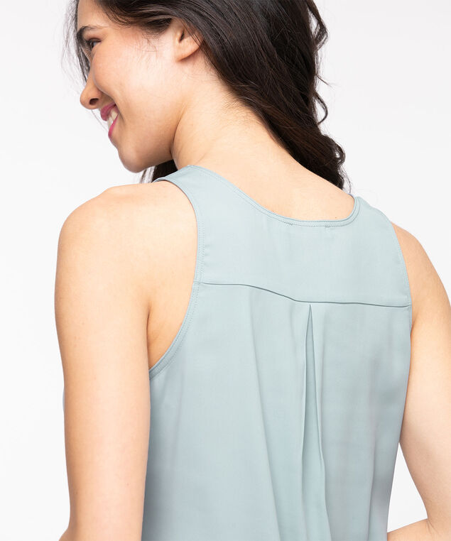 Pleat Back Sleeveless Blouse, Dusty Blue