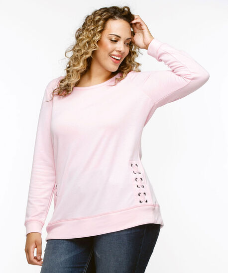 Long Sleeve Lace-Up Detail Pullover, Iced Pink, hi-res