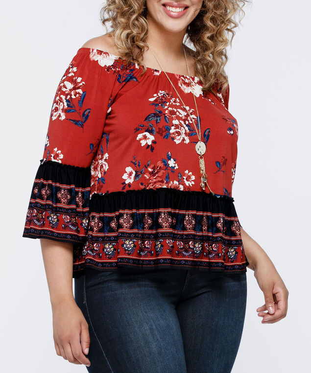 On-Or-Off Shoulder Peasant Top, Rust/Black/Deep Sapphire, hi-res