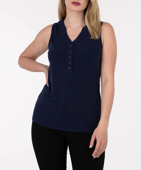 Sleeveless Button Front Henley Top, Summer Navy, hi-res