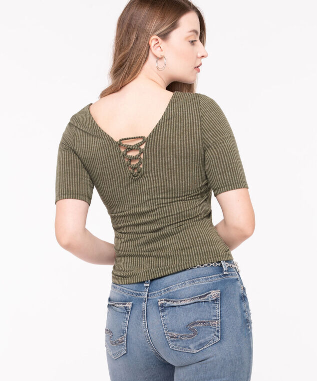 V-Neck Lace Back Top, Basil, hi-res