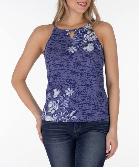 Sleeveless Burnout Bubble Top, Indigo/White, hi-res