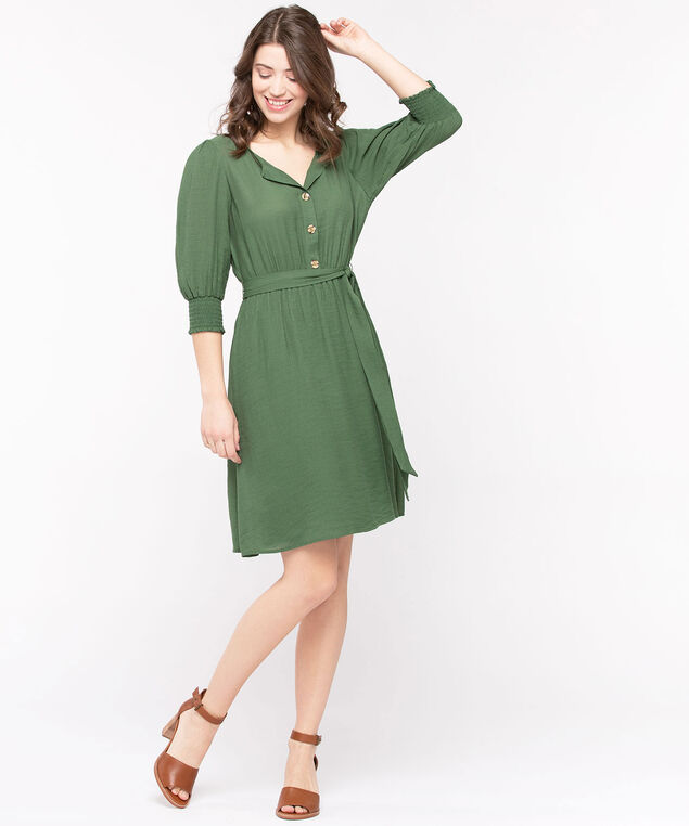 Button Front Smocked Sleeve Dress, Basil, hi-res