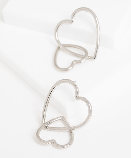Double Dangling Heart Earring, Silver, hi-res