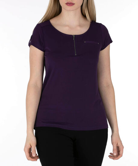 Short Sleeve Zip Front Top, Deep Purple, hi-res