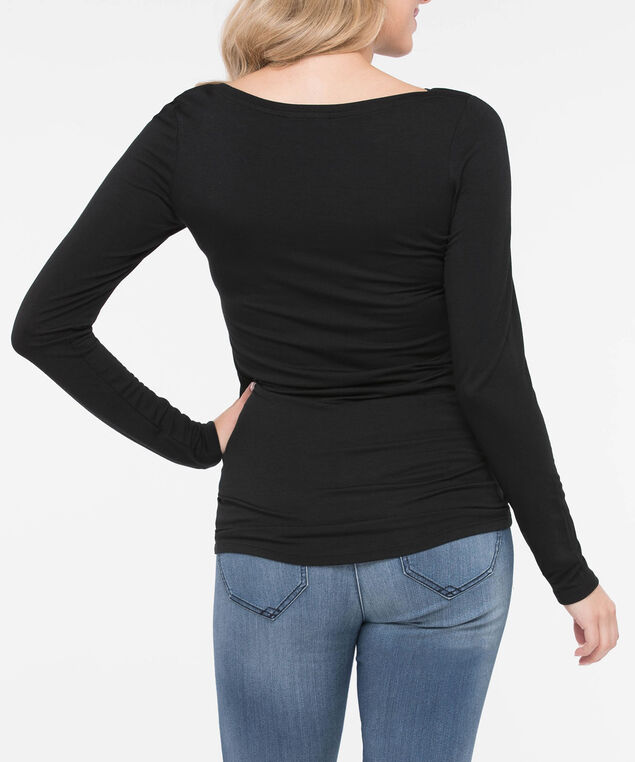 Boatneck Essential Layering Top, Black, hi-res