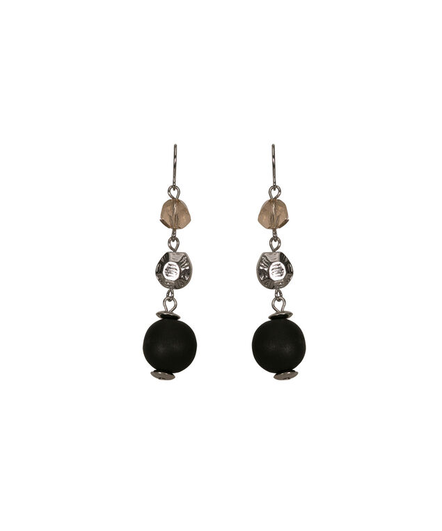 Matte Bead Drop Earring, Black/Rhodium, hi-res