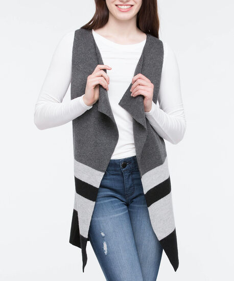 Plush Open Sweater Vest, Black/Heathered Charcoal/Heathered Grey, hi-res
