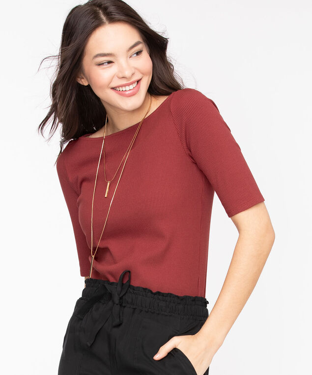 Ribbed Elbow Sleeve Top, Windsor Wine