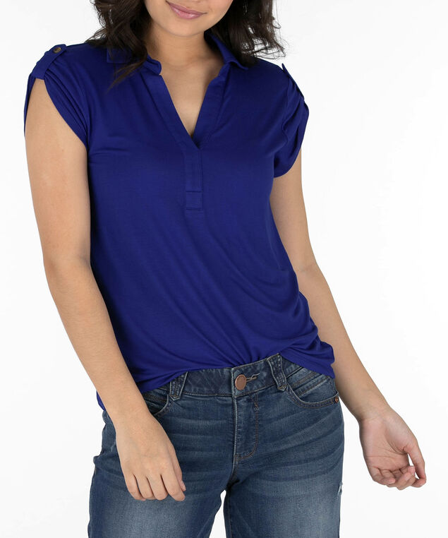 Collared Roll-Tab Shirt, Blue, hi-res