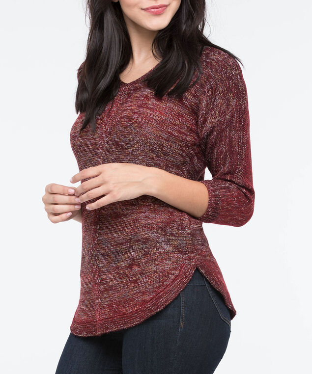 Curved Hem V-Neck Sweater, Dark Rust/Pumpkin, hi-res