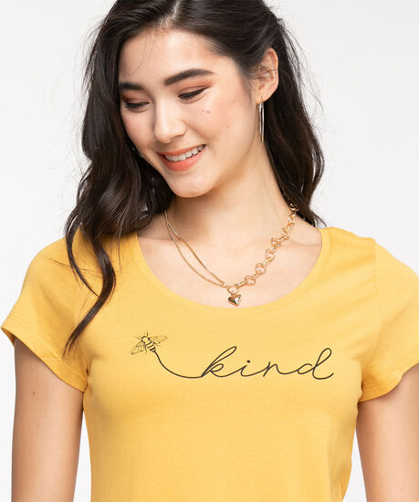 Scoop Neck Shirttail Graphic Tee, Honey Gold Bee, hi-res