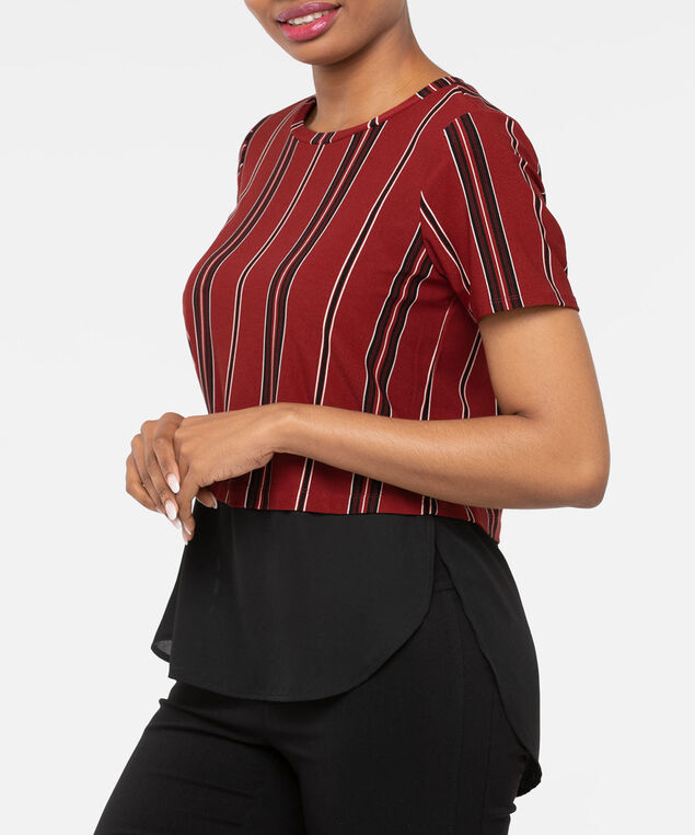 Short Sleeve Button Back Fooler Top, Rust/Black/Pearl, hi-res