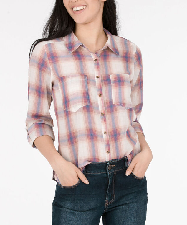 Collared Button Down Plaid Blouse, Cerulean/Tangerine/Milkshake, hi-res
