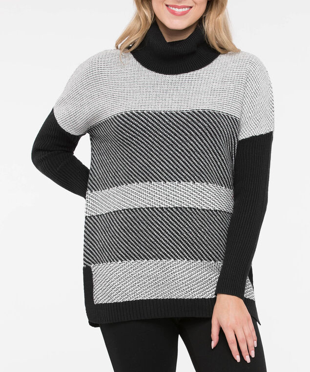 Cowl Neck Mixed Stripe Sweater, Black/Pearl, hi-res
