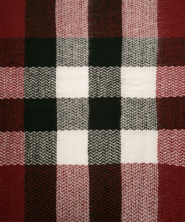 Plaid Square Blanket Scarf, Cherry/Black/Milkshake, hi-res