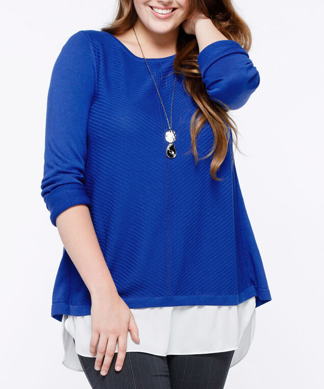 Chevron Fooler Pullover Sweater, Cobalt/Blue, hi-res