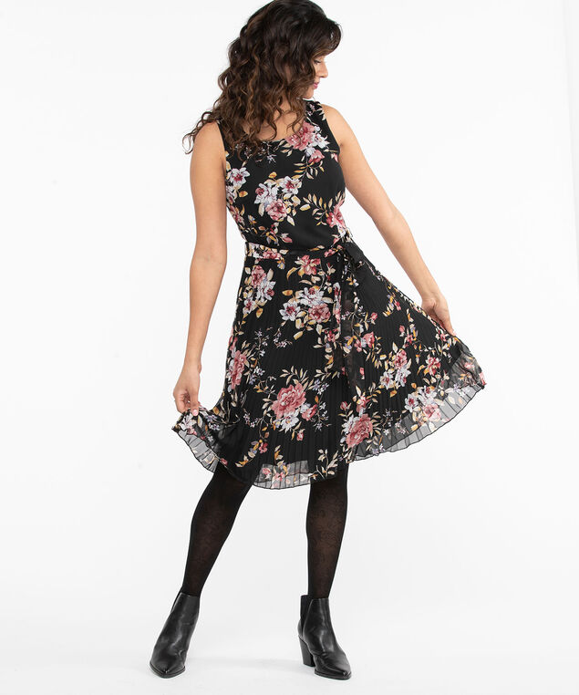 Floral Sleeveless Pleated Dress, Black Floral