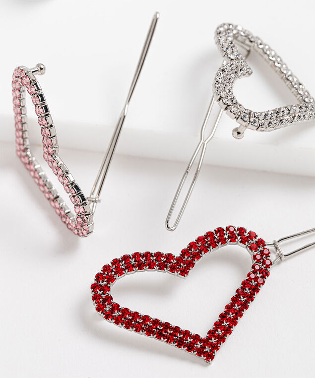 Crystal Heart Barrette 3-Pack, Pink/Red/Silver