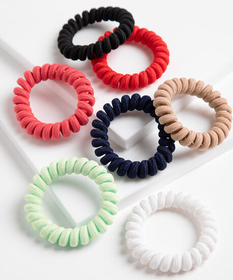 Small Coiled Hair Elastic 7-Pack, Navy/Pink/White/Light Green/Brown/Black/, hi-res