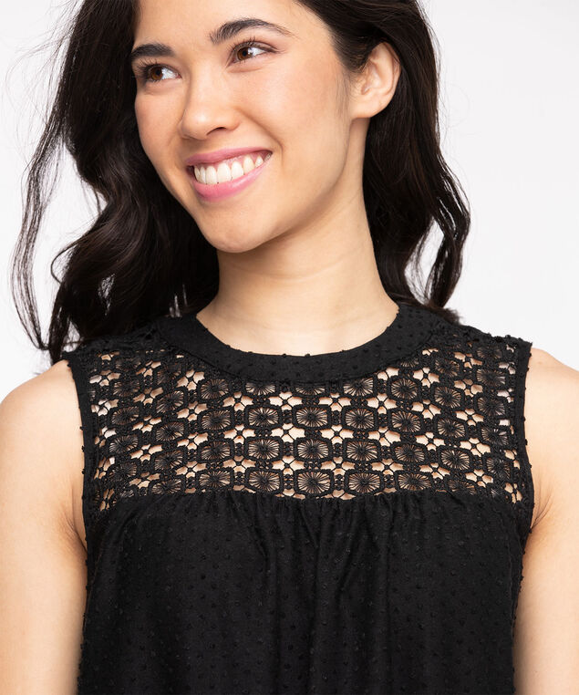 Swiss Dot Crochet Sleeveless Top, Black