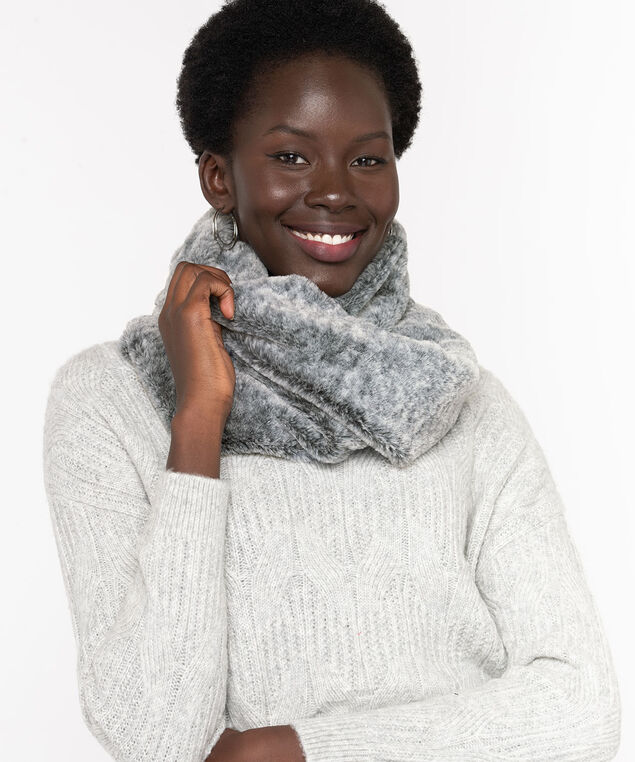 Faux Fur Snood, Grey Mix
