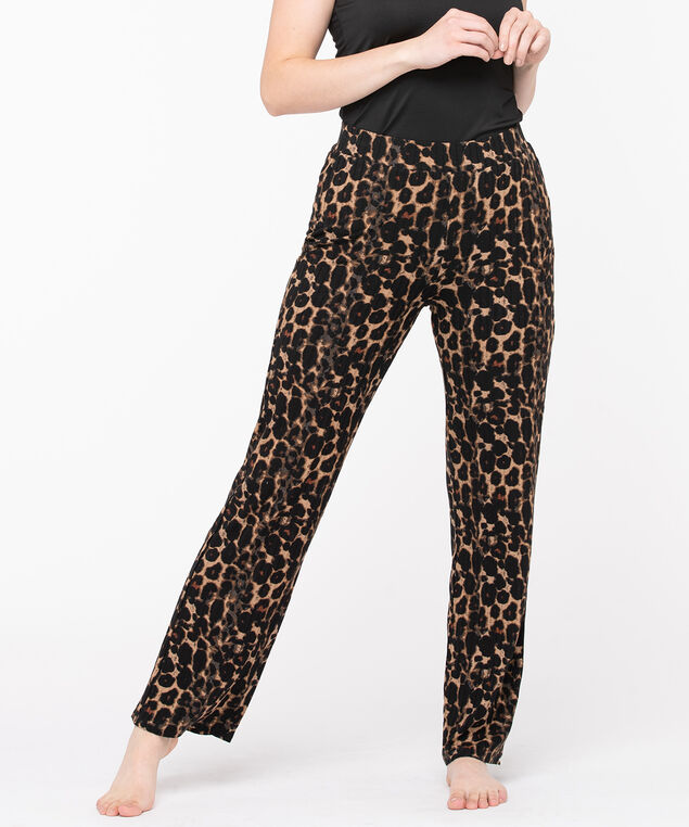 Leopard Print Wide Leg Pant, Camel/Black/Brown