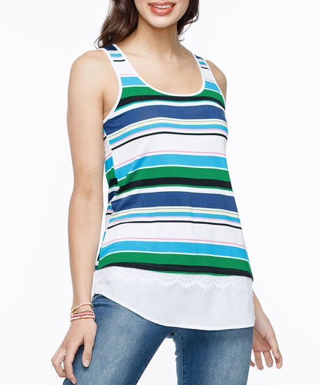 Sleeveless Fooler Tank Top, White/Blue/Green, hi-res