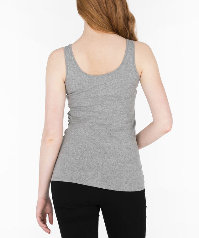 Scoop Neck Cami, Heather Grey, hi-res