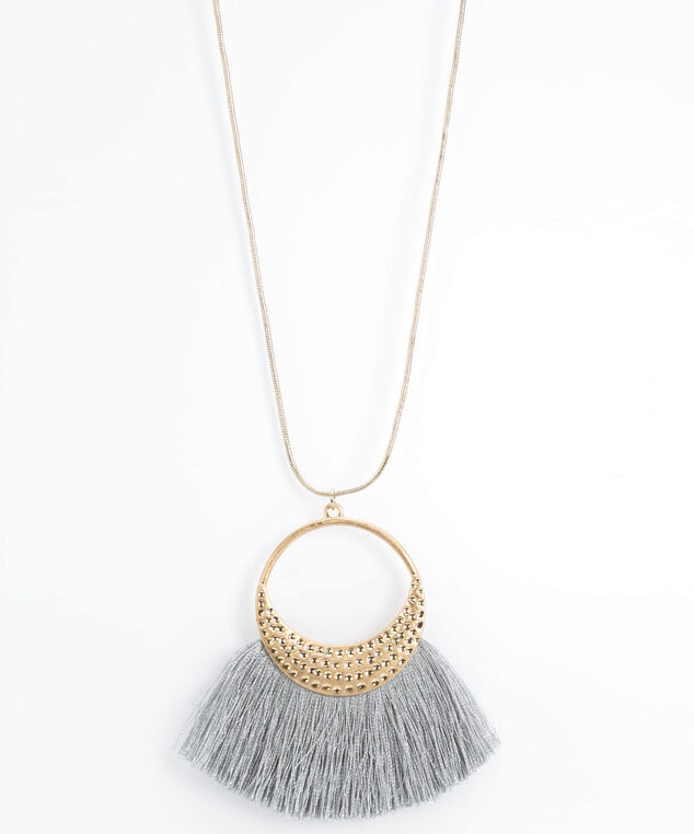 Hammered Metal & Tassel Pendant Necklace, Gold/Grey, hi-res