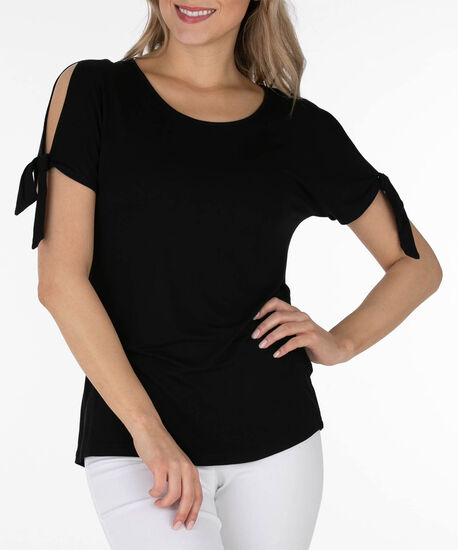 Tie-Sleeve Scoop Neck Top, Black, hi-res