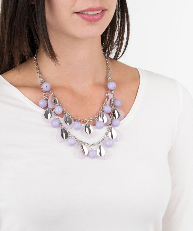Petal & Bead Statement Necklace, Iced Violet/Rhodium, hi-res