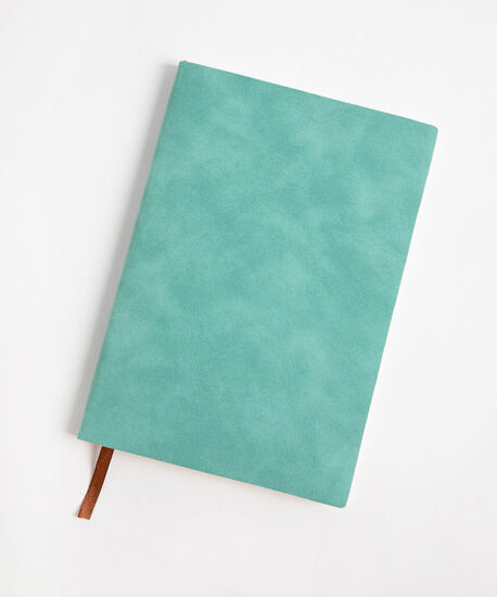 Suede Ruled Notebook, Turquoise, hi-res