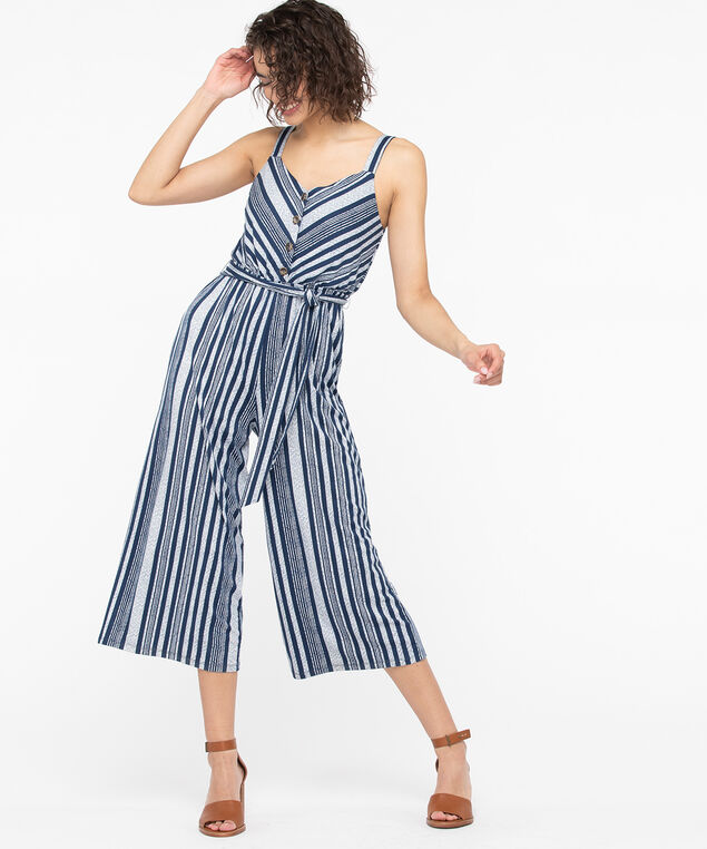 Strappy Button Front Jumpsuit, Navy/Pearl