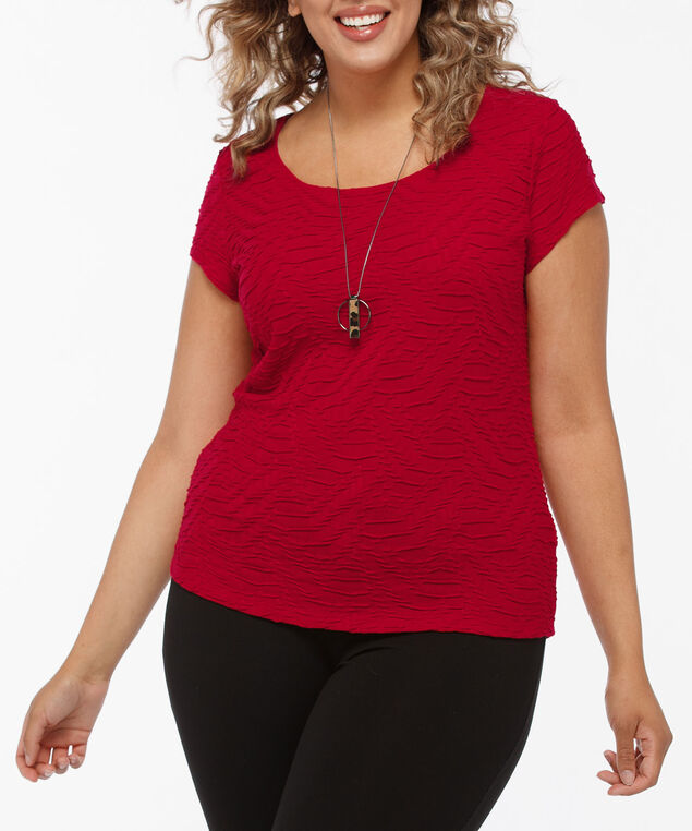 Textured Short Sleeve Scoop Neck Top, Crimson, hi-res