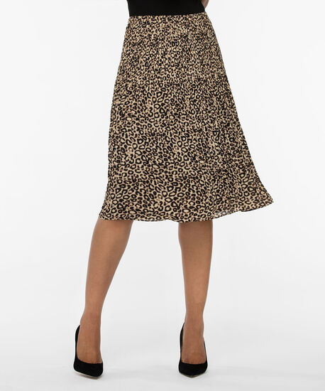 Animal Print Release Pleat Skirt, Brown/Camel/Black, hi-res