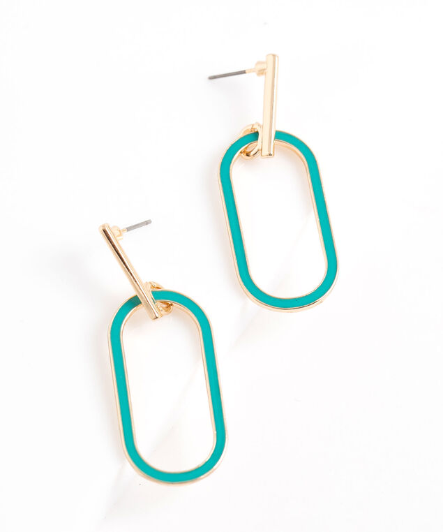 Square Oval Drop Earring, Gold/Teal