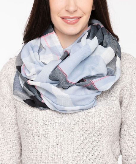 Large Plaid Eternity Scarf, Light Blue/Steel Blue/Black, hi-res