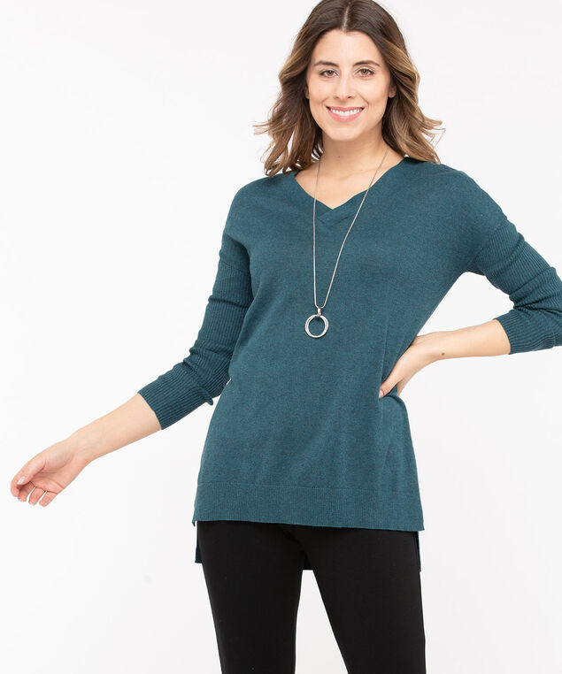 Cross Back Detail Tunic Sweater, Midnight Teal, hi-res