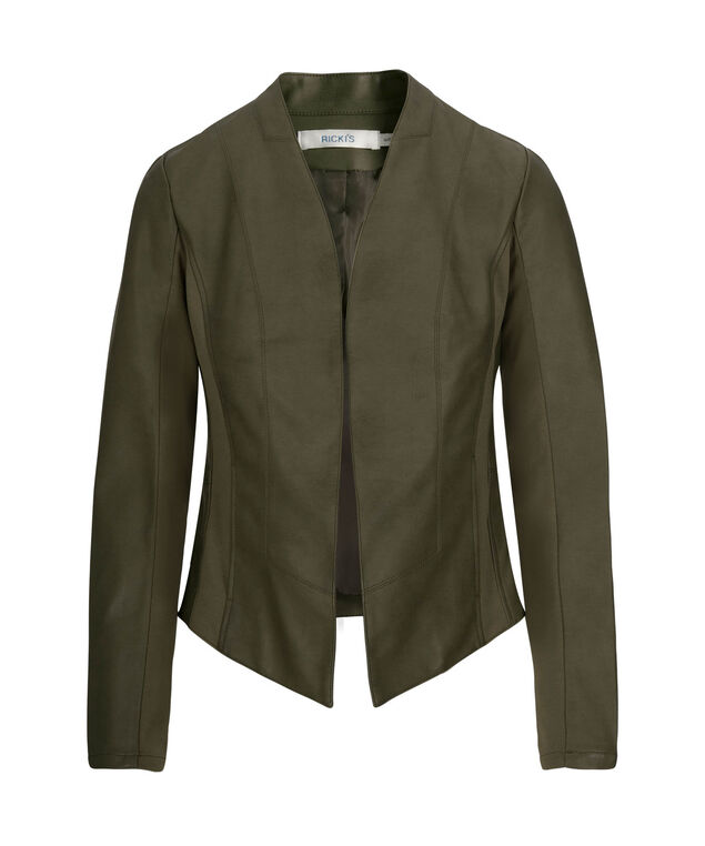 FAUX LEATHER OPEN FRONT BLAZER, Olive, hi-res
