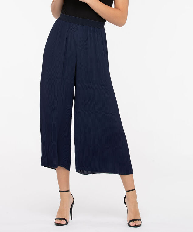 Plisse Pleat Cropped Wide Leg Pant, Navy, hi-res