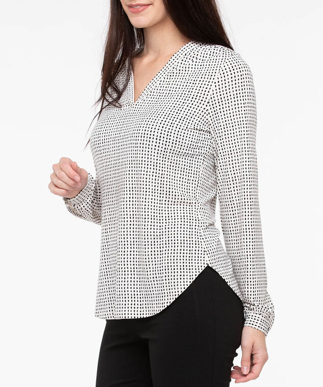 Long Sleeve V-Neck Knit Top, Pearl/Black, hi-res