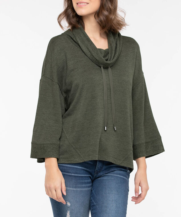 Wide Sleeve Funnel Neck Knit Top, Autumn Olive, hi-res
