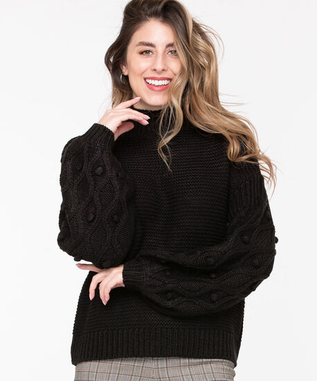 Pom Pom Balloon Sleeve Sweater, Black, hi-res