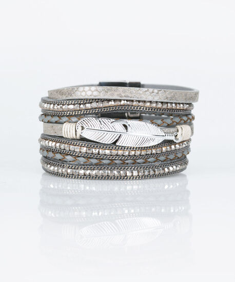 Feather & Crystal Wrap Bracelet, Rhodium/Mid Heathered Charcoal, hi-res