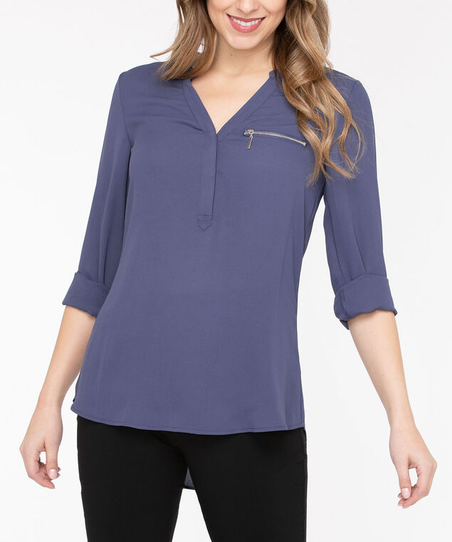 Zipper Pocket Henley Blouse, Blue Fog, hi-res
