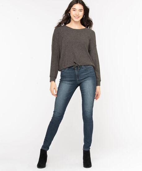 Cozy Ribbed Dolman Sleeve Top, Charcoal, hi-res