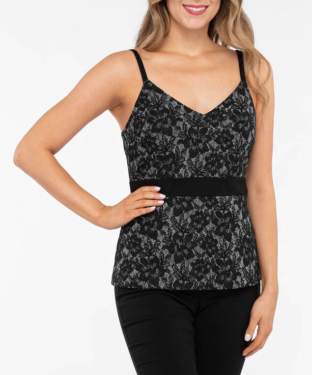 Sleeveless Lace Sparkle Peplum Top, Black/Silver Sparkle, hi-res