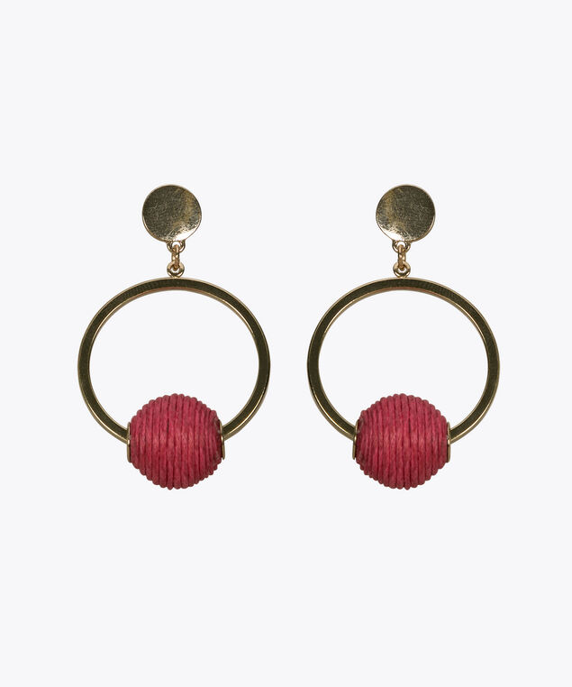 Threaded Ball & Hoop Earring, Hot Pink/Gold, hi-res