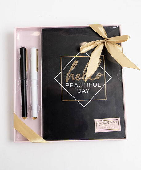 Beautiful Day Boxed Stationary Set, Black/Gold/White, hi-res